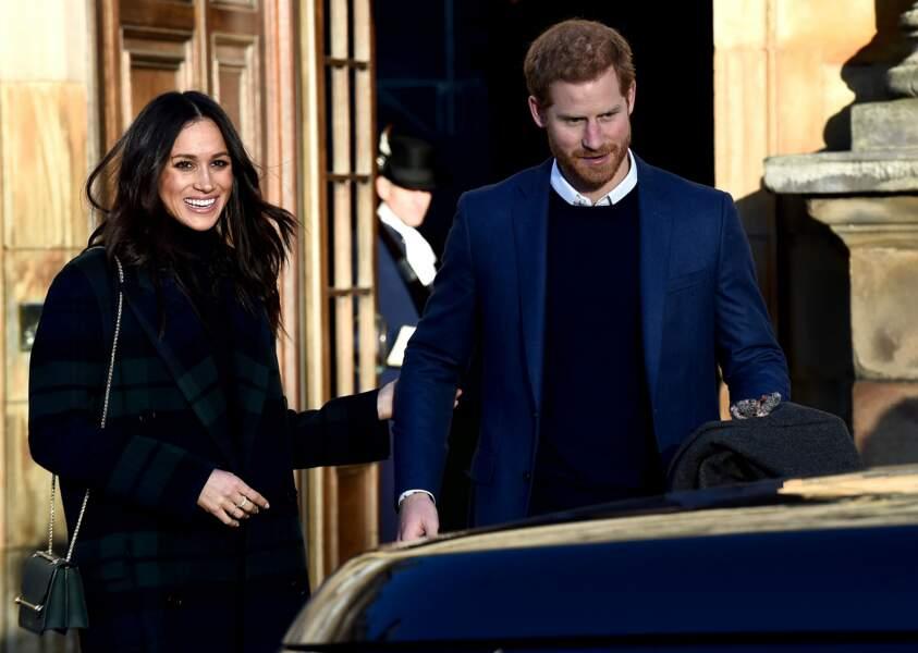 Harry et Meghan lors d'une réception au palais de Holyroodhouse à Edimbbourg le 13 février 2018