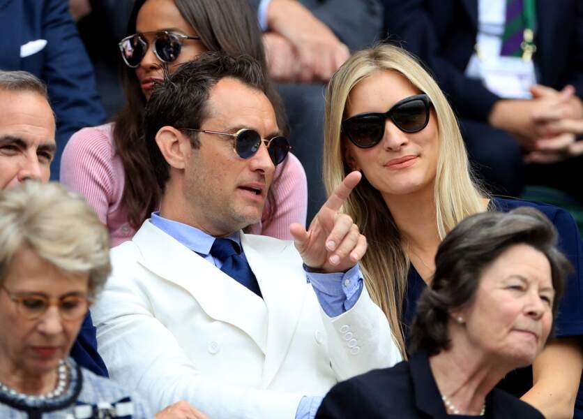Jude Law et sa compagne Phillipa Coan au championnat de tennis de Wimbledon en 2016