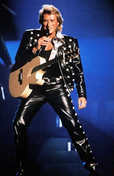 Johnny Hallyday en 1995, très cuir