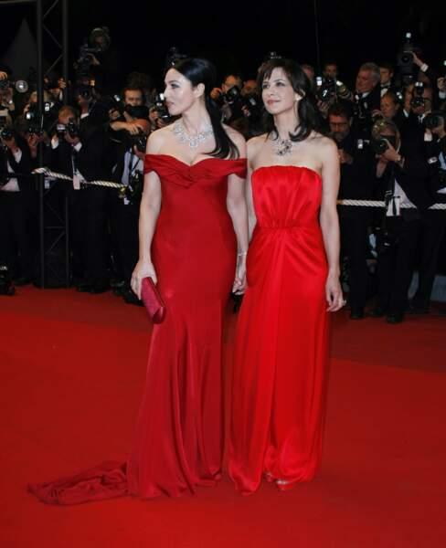 Monica Belluci et Sophie Marceau osent le rouge et enflamment la Croisette