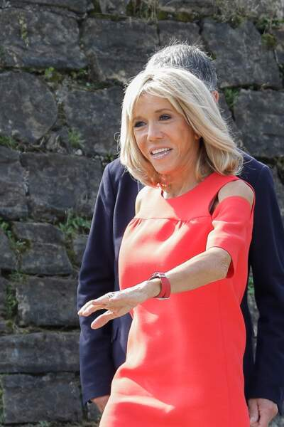 Brigitte Macron visite Espelette, en marge du G7, en compagnie des autres conjoints, le 25 août 2019.