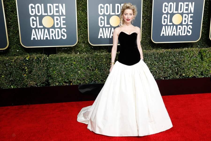Amber Heard en robe Monique Lhuillier, lors de la cérémonie des Golden Globes, le 6 janvier 2019 à Los Angeles