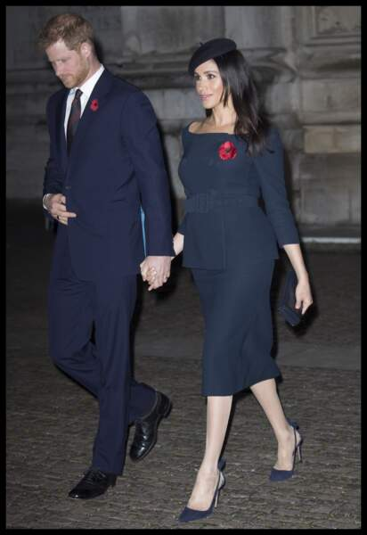 Meghan Markle et Harry sortant de l'Abbaye de Westminster, le 11 novembre 2018