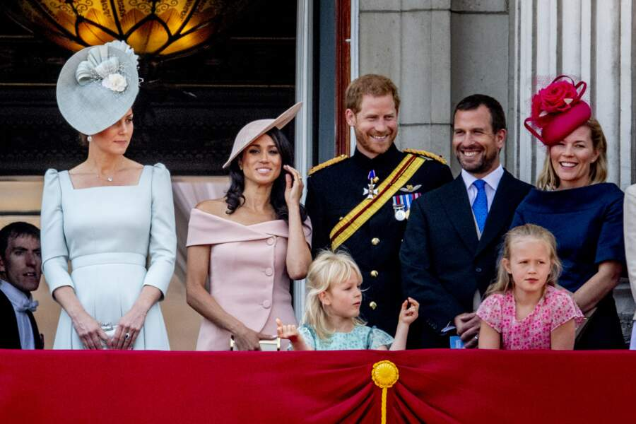 Kate Middleton, le prince Harry, Meghan Markle,Peter Phillips, sa femme Autumn Phillips et leurs enfants