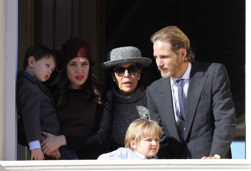 Charlotte, Raphaël , Caroline, Andrea et Sacha lors de la fête nationale monégasque e 19 novembre 2017