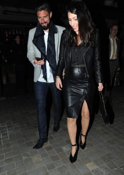 Olivier Giroud et son épouse Jennifer à Londres, le 1er mai 2018