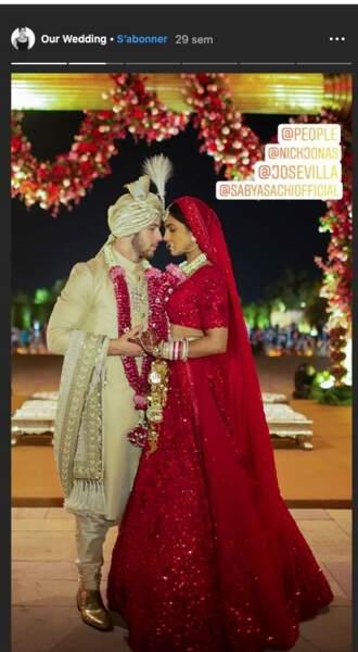 Nick Jonas transformé en véritable prince indien, pour l'une de ses nombreuses tenues de marié avec Priyanka Chopra