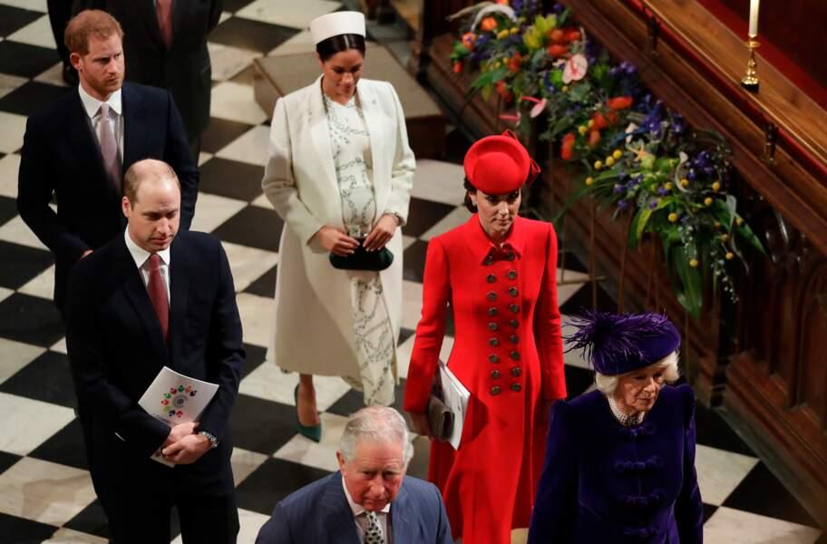 La famille royale à l'Abbaye de Westminster pour une sortie officielle, à Londres, le 11 mars 2019.