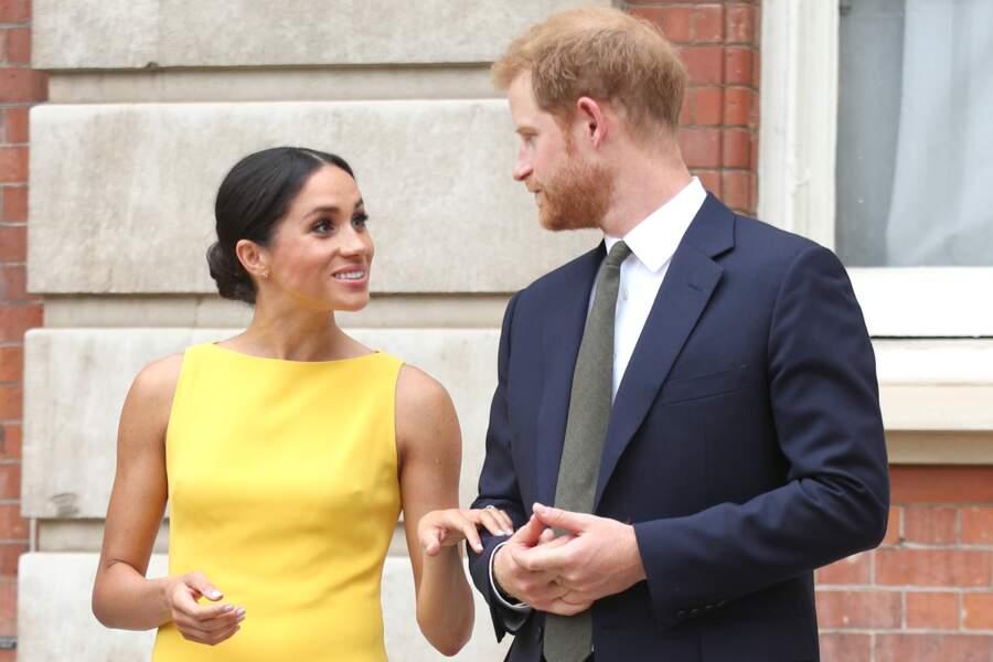 Le prince Harry et Meghan Markle assitent à une réception au Marlborough House à Londres, le 5 juillet 2018.