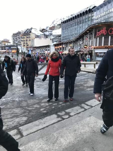 Brigitte et Emmanuel Macron à La Mongie le 25 décembre 2017