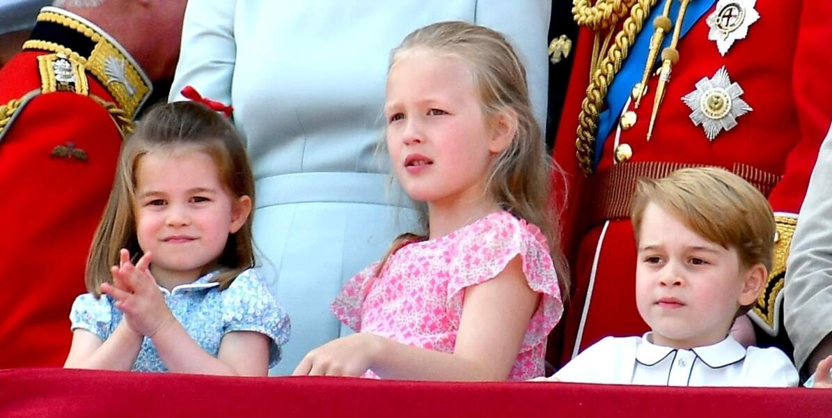 "Charlotte, George et Savannah Phillips assistent à la parade ""Trooping The Colour"" à Londres,le 9 juin 2018."