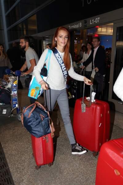 Maéva Coucke le 19 novembre 2017 à son arrivée à Los Angeles pour la préparation du concours