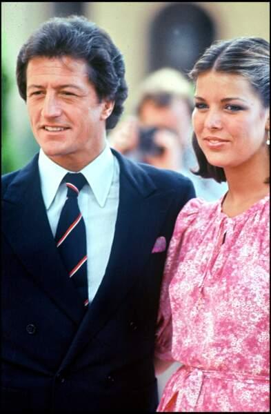 Caroline de Monaco et son premier mari Philippe Junot, le jour de leurs fiançailles, en août 1977
