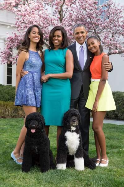 Barack Obama et Michelle Obama et leurs filles Malia et Sasha