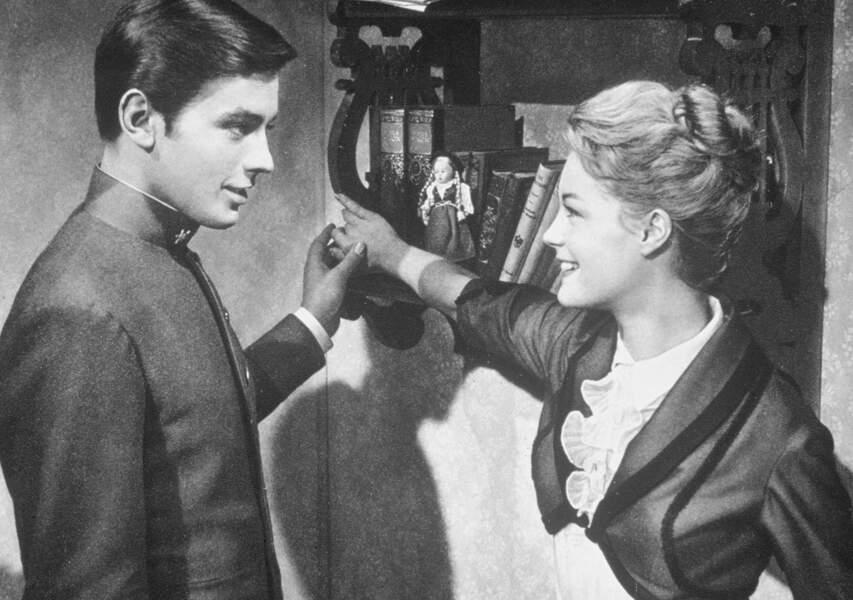 """Romy Schneider et Alain Delon sur le tournage du film """"Christine"""" en 1958"""