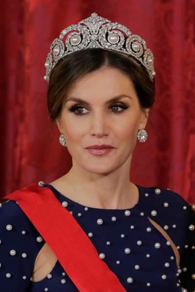 La reine Letizia d'Espagne était coiffée d'une tiare Cartier