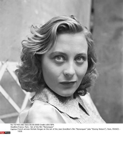 Michèle Morgan sur le tournage de Remorques, en 1939