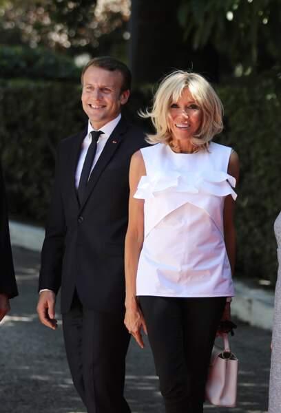 Le couple présidentiel lors d'une visite à Athènes le 7 septembre 2017