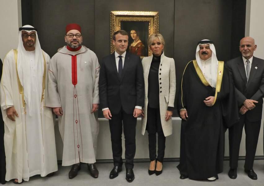 Emmanuel Macron, Brigitte Macron, le prince Mohammed bin Zayed Al-Nahyan et le roi Mohammed VI.