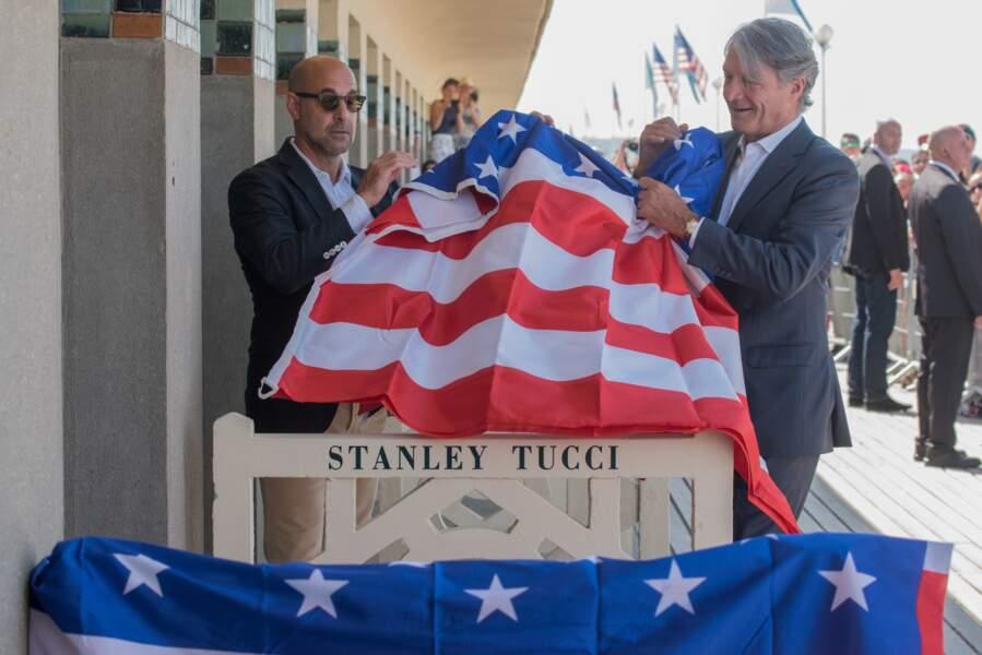 Stanley Tucci et le maire de Deauville Philippe Augier