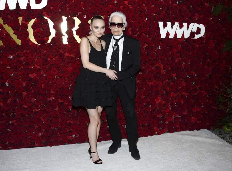 Entre Lily-Rose Depp et Karl Lagerfeld, une vraie complicité, tous les deux en Chanel