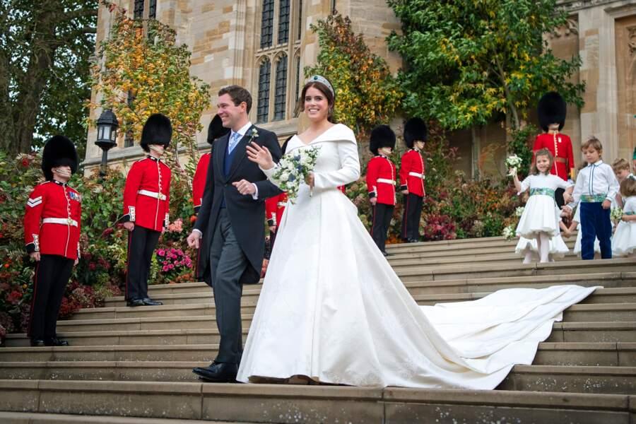La princesse Eugenie d'York en robe Peter Pilotto lors de son mariage à Windsor, le 12 octobre 2018