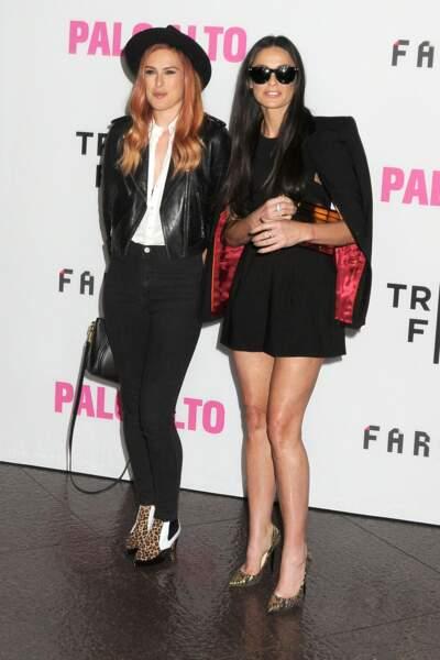 """Demi Moore et sa fille Rumer Willis à la première du film """"Palo Alto"""" en 2014"""