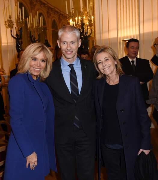 Brigitte Macron, Franck Riester et Claire Chazal à Paris
