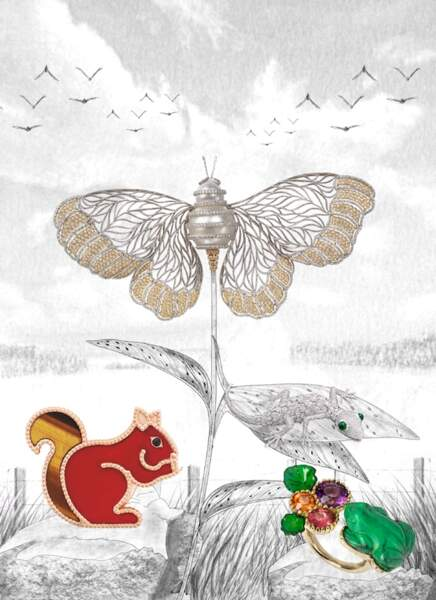 Broche papillon Graff; Clip écureuil Van Cleef & Arpels ; Bague double Grenouille Garnazelle