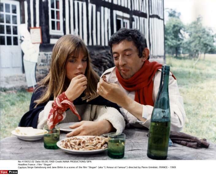 """Jane Birkin et Serge Gainsbourg dans """"L'amour et l'amour"""" en 1969"""