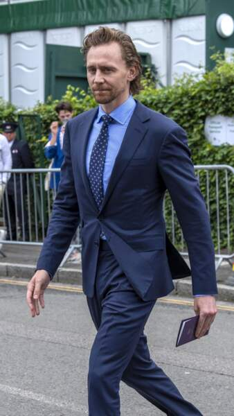 Tom Hiddleston arrive pour assister à la finale homme du tournoi de Wimbledon à Londres, le 14 juillet 2019.