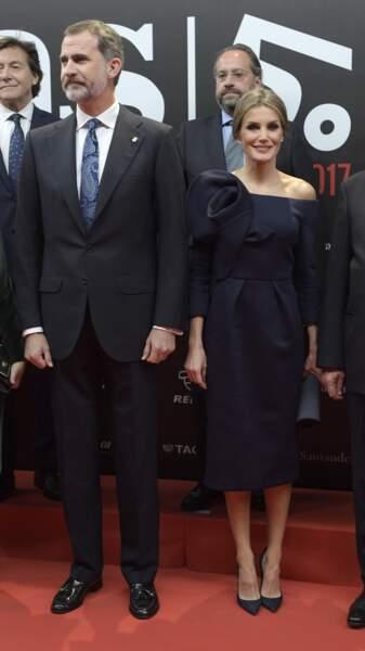 Le roi Felipe VI et la reine Letizia d'Espagne lors du 50ème anniversaire des AS Sports Awards au palais de Cybèle