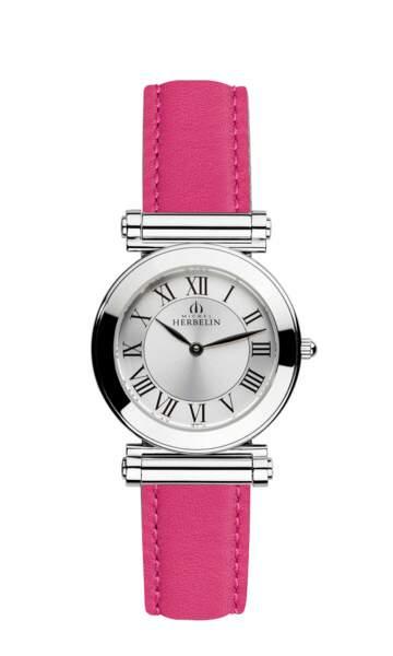 Montre en acier, cadran argenté et bracelet interchangeable, 550 €, Michel Herbelin.