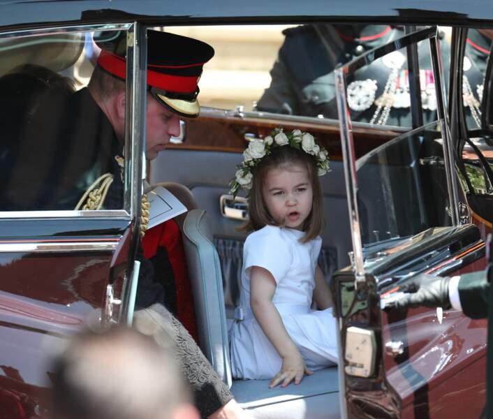 Charlotte, adorable avec sa couronne de fleurs, lors du mariage du prince Harry et de Meghan Markle, le 19 mai 2018