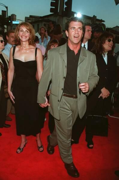 """Avec Mel Gibson à la première du film """"Complots"""" en 1997"""