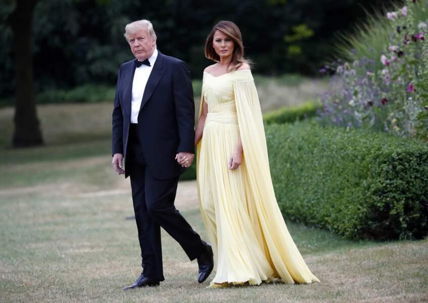 Donald et Melania Trump en robe J. Mendel le 12 juillet 2018 à Londres