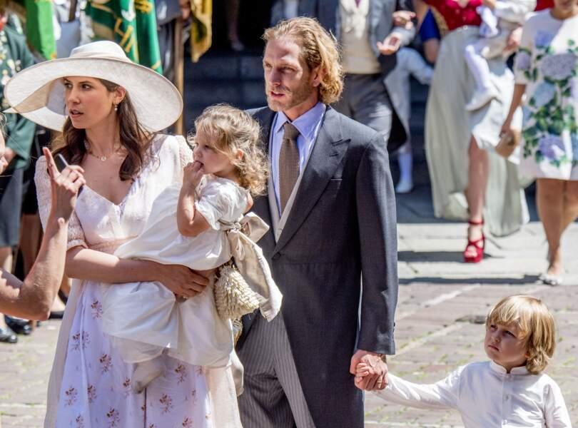 Andrea Casiraghi, sa femme Tatiana et leurs enfants au mariage de Ernst August Jr de Hanovre en juillet 2017
