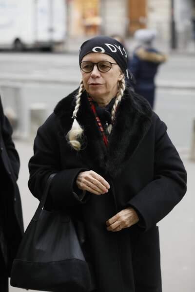 Dominique Issermann aux obsèques de Henry Chapier en l'église Notre-Dame des Champs à Paris le 4 février 2019