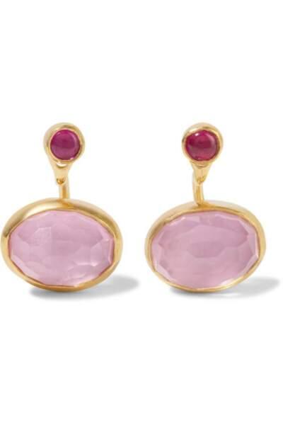 Boucles d'oreilles en plaqué or et en cristaux, Katerina Makriyianni, 253€