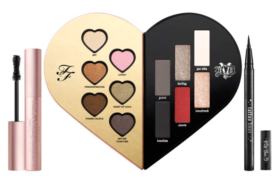 Une palette en forme de coeur pour une gamme colorée de mystères entre Kat Von D et Too Faced