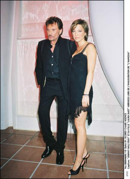 Johnny Hallyday et Laura Smet à Paris en 2003