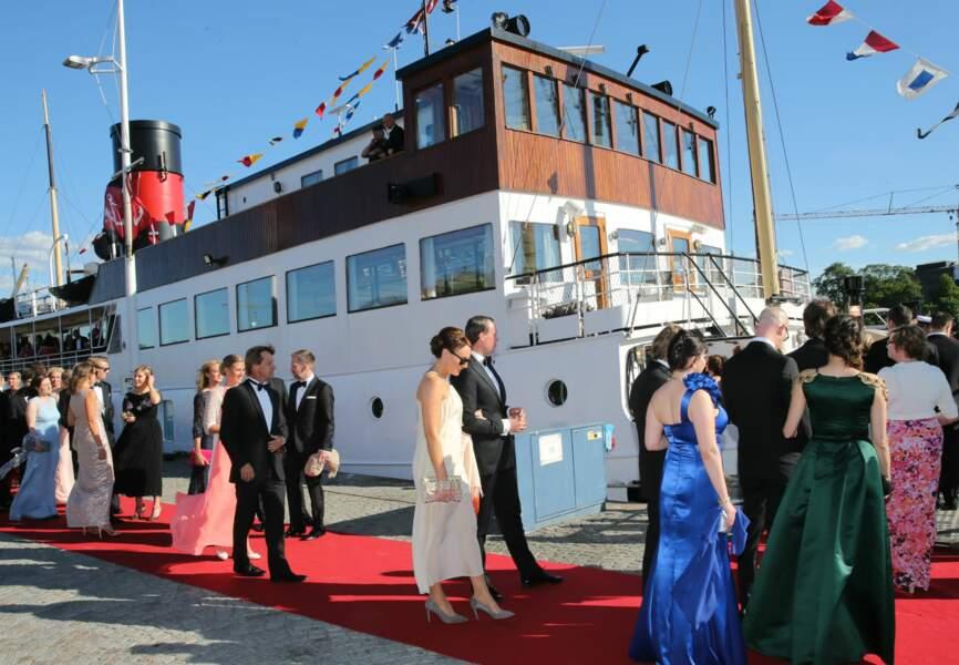 Vendredi, les invités du mariage étaient reçus dans Stockholm la maritime pour un premier diner de fête