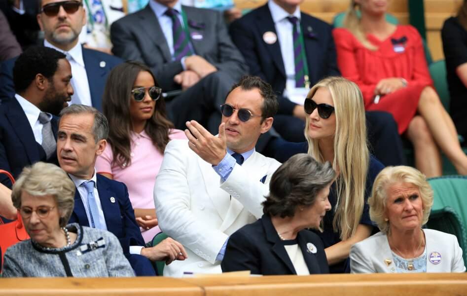 Jude Law et sa compagne Phillipa Coan à Wimbledon en juillet 2016