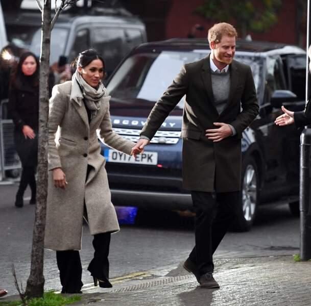 """Le prince Harry et Meghan Markle visitent la station de radio """"Reprezent"""" à Londres le 9 janvier 2018"""
