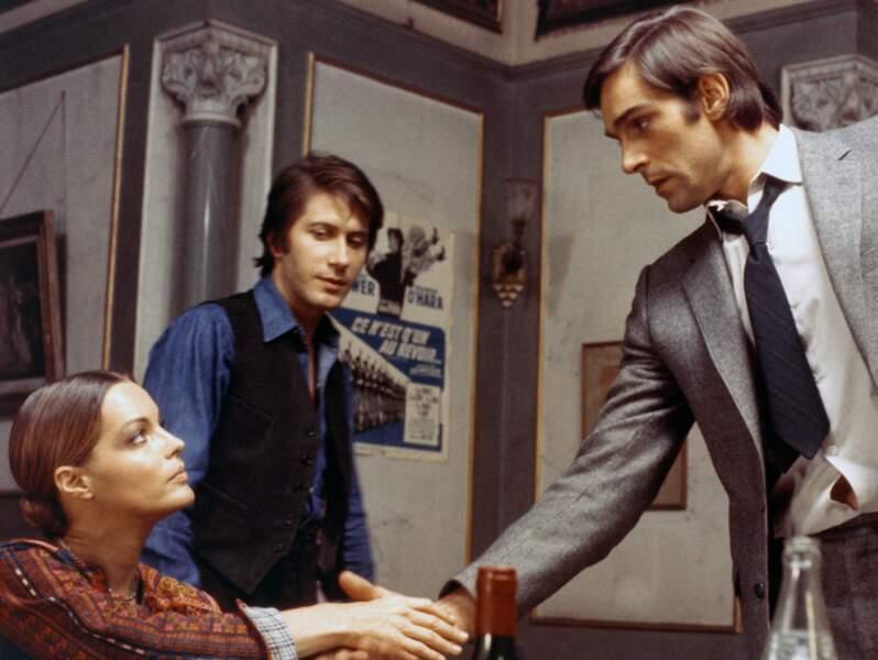 """Romy Schneider, Jacques Dutronc et Fabio Testi dans """"L'important c'est d'aimer"""" en 1975"""