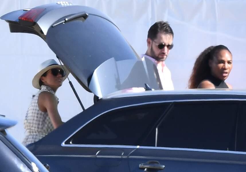 Meghan Markle, avec Serena Williams et son mari Alexis Ohanian au Polo Club d'Ascot, le 30 juin 2018