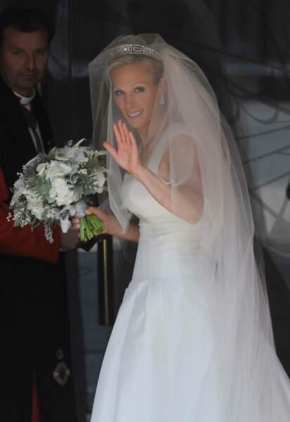 Zara Philipps (en robe Stewart Parvin) lors de son mariage avec Mike Tindall à Edimbourg le 30 juillet 2011