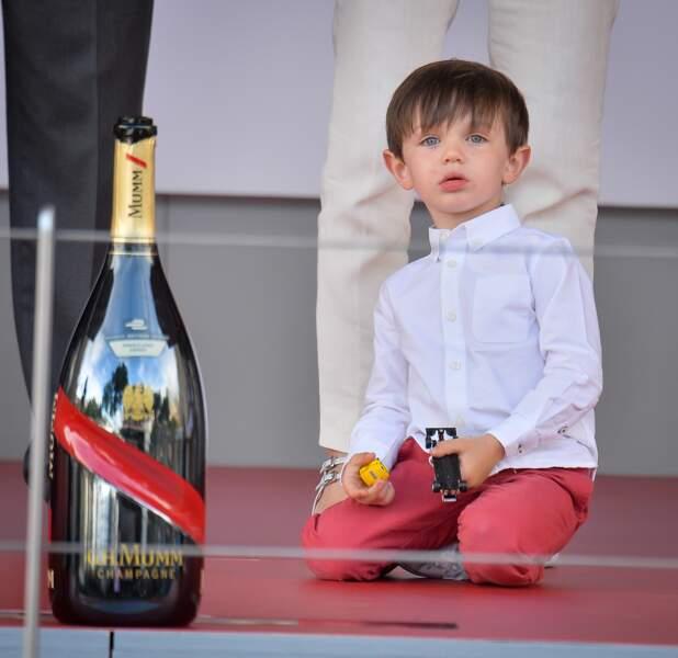 Raphaël, le fils de Charlotte Casiraghi lors du Grand Prix de Formule E à Monaco le 13 mai 2017