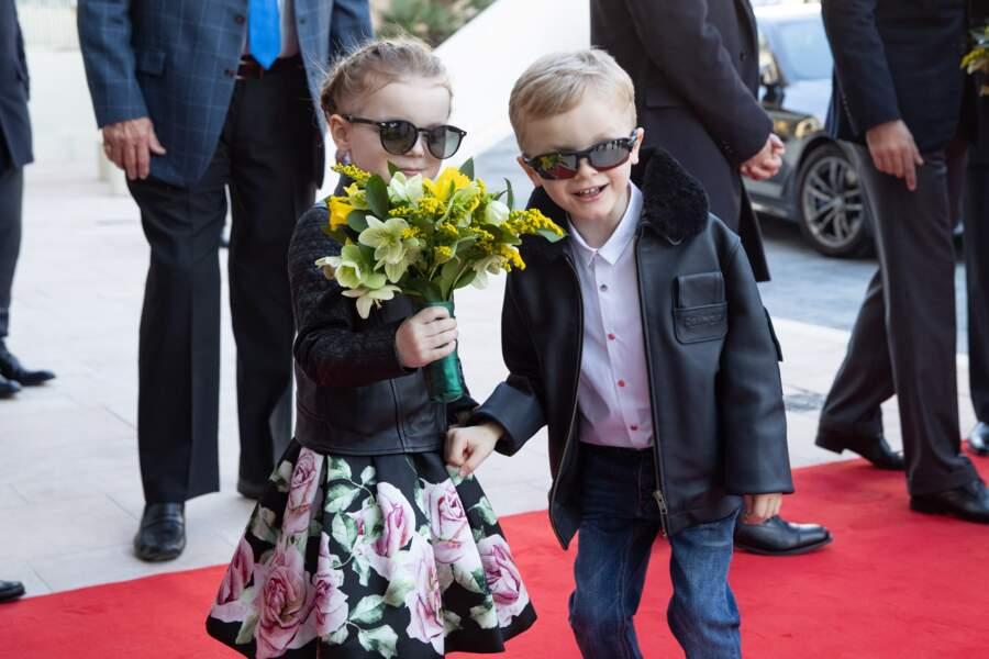 Gabriella et Jacques de Monaco, lors de l'inauguration du centre commercial One Monte-Carlo le 22 février, 2019