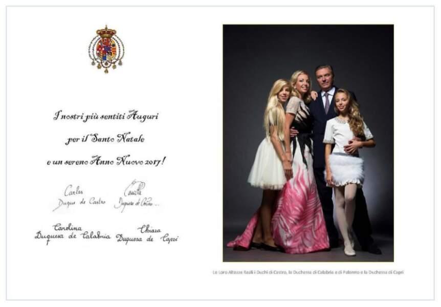 Le duc Carlos et la duchesse Camilla de Castro et leurs filles Chiara et Carolina